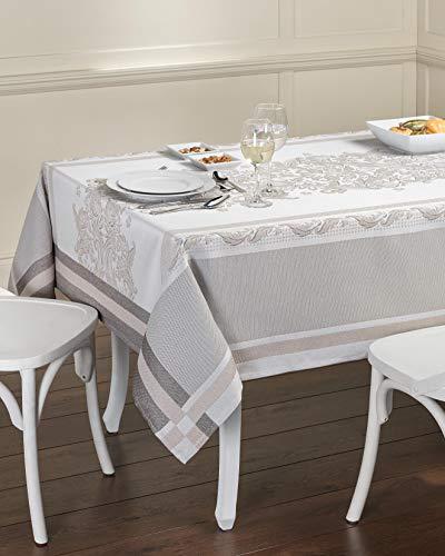 Tischdecke aus Baumwolle. Tischtuch, Mitteldecke. Hochwertiges Luxus Design. (Tischdecke - 150x250, #Elegance - Beige/Braun)