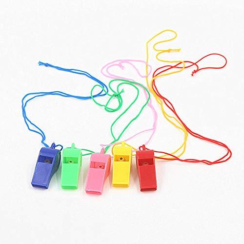 YUEMING 5 Stuks Plastic Neon Fluitjes,Fluitjes met Nylon Gevlochten Sleutelkoord Koord,Kinderen Voetbal Scheidsrechter Sportfluitje Prijzen School Sportactiviteiten,Teamwedstrijden