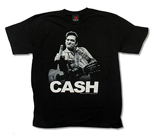 Johnny Cash Middle Finger Pic Mens Black T Shirt Jackson Folsom Top