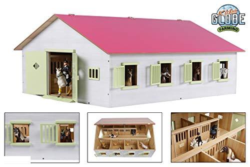 Kids Globe 610189 - Granja con 7 Cajas para Caballos, Madera con Techo Plegable, 1:24, Color Rosa