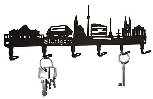 steelprint.de Schlüsselbrett/Hakenleiste * Skyline Stuttgart * - Schlüsselboard Baden-Württemberg, Schlüsselleiste, Metall - 6 Haken