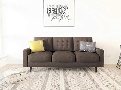 "Container Furniture Direct Matte Velvet Mid Century Modern Tufted Living Room Sofa, 71.7"", Brown"