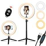10.2' Selfie Ring Light with Tripod Stand & Phone Holder Elfeland Selfie Ring Light for YouTube Video Makeup Photography LED Ring Light Shooting with 3 Color Temperature & 10 Brightness Level