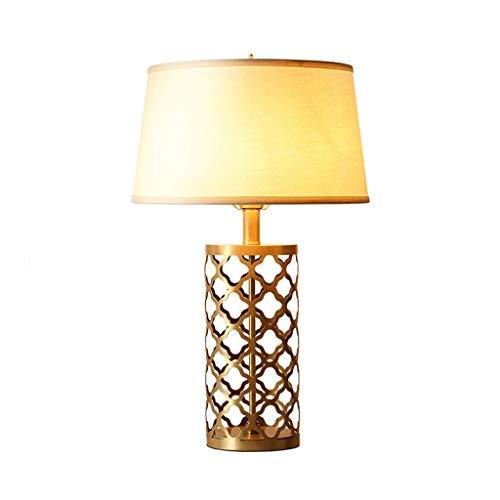 SPNEC Lámpara De Mesa De Diseño De Metal De Cobre Hueco + Sombra De Lino Living Lámpara De Mesa De Mesita De Noche Dormitorio Decorativo