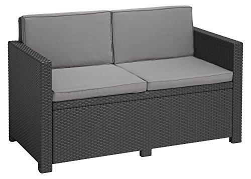 """""""Allibert by Keter"""" Gartenlounge Sofa Victoria, graphit/cool grey, 2-Sitzer, inkl. Sitz- und Rückenkissen, Kunststoff, flache Rattanoptik"""