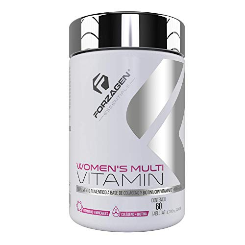 Forzagen Essentials Women's Multivitamin (*Beauty Complex con Vitaminas - Nueva Fórmula*) | - 60 Tabletas | Vitaminas y Minerales para Mujer | Vitamina E | Vitamina C | Ácido Fólico | Zinc | Magnesio | Calcio | Poderosos Antioxidantes | Con Complejo de Belleza | Biotina | Colágeno Hidrolizado | Ácido Hialurónico | Levadura | Mejora y Mantiene Salud de la Piel, Cabello y Uñas | Refuerza Sistema Inmune | Protege la Salud | Incrementa Energía y Vitalidad | Esencial para Mujeres | Suplemento Natural