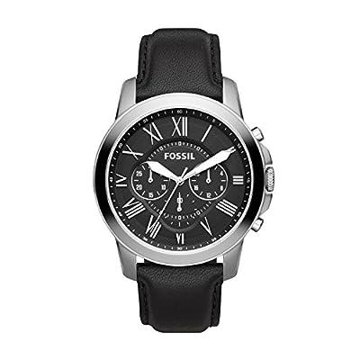 Fossil Men's Grant Quartz Leather Chronograph Watch, Color: Black/Silver (Model: FS4812IE)