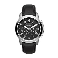 Case size: 44mm; Band size: 22mm; quartz movement with luminous 3-hand analog display; mineral crystal face; imported Round stainless steel case with black dial and Roman numerals Genuine black leather band with buckle closure; interchangeable with a...