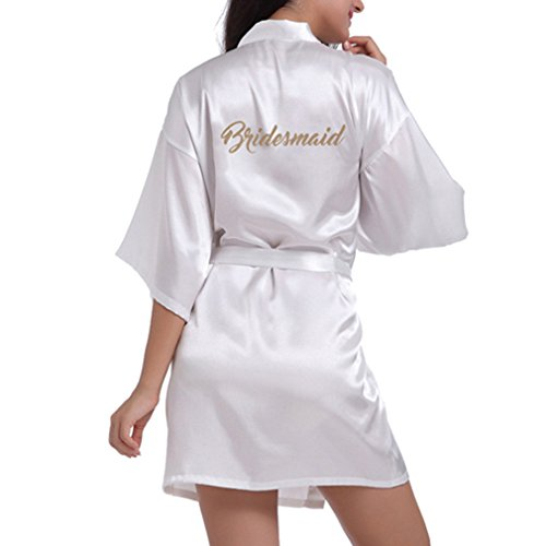 WEIMEITE Batas Kimono de Satén para Mujer con Brillo de Oro para Dama de Honor Vestido Corto de Bata Blanca M