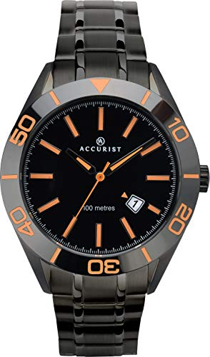 Accurist Herren Analog Quarz Uhr mit massives Edelstahl Armband 7224