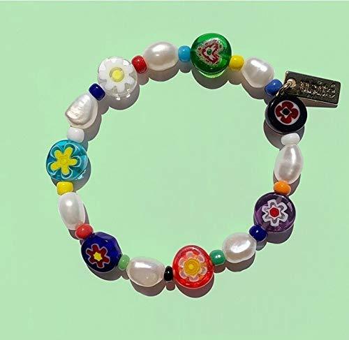 Hwjmy Cadena de cuentas de color transparente, flores irregulares, collar de perlas para mujer (color metal: 16 pulseras)
