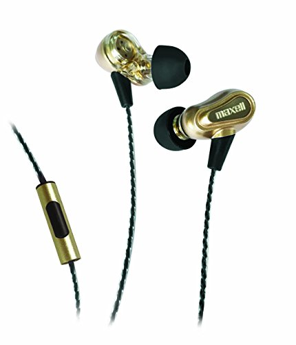 Maxell Dual Driver Earbuds, Gold