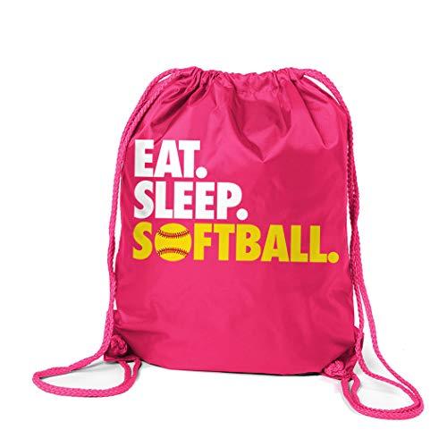 Softball Sport Pack Cinch Sack | Eat Sleep Softball | Pink