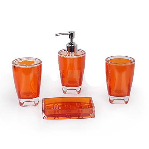 Fingey - Juego de accesorios de baño con jabonera, soporte para cepillo de dientes, dispensador de jabón y vaso de enjuague, diseño moderno, 4 piezas