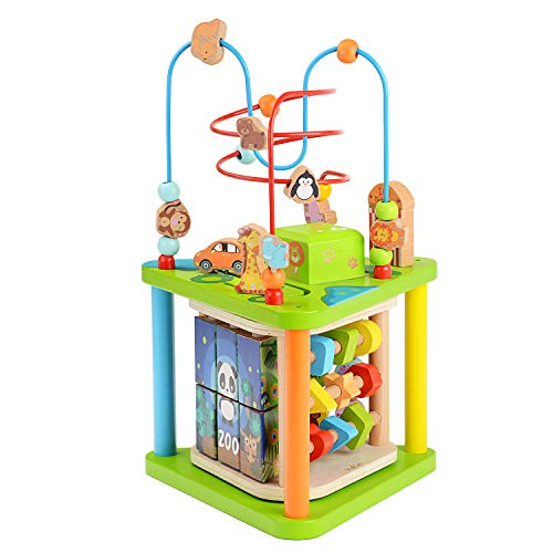 ZONXIE Wooden 7 in 1 Baby Activity Play Cube Bead Maze Toys Activity Center for Babies Toddlers...