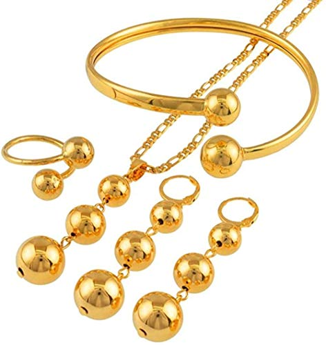 BACKZY MXJP Necklace African Beads Jewelry Sets Necklace Earrings Bangle Ring for Women Trendy Round Ball Jewelry Arab Nigeria Gifts Necklace Length 60Cm X 3Mm Chain