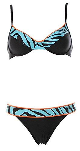 Triumph Damen Bügel Bikini Brazil Slip Malibu Wild Life Schwarz Blau 38 Cup B