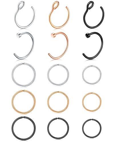 Crdifu Nasenpiercing Ring Set 0,8mm Fake Nasenring Hoop Chirurgenstahl Fake Ohr Helix Cartilage Ring