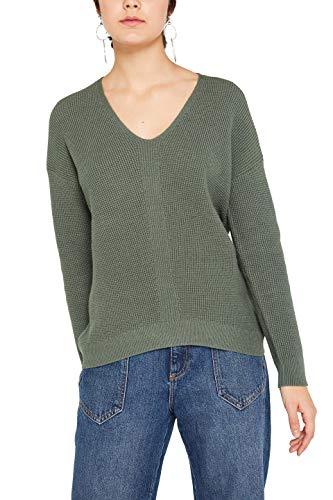 edc by ESPRIT Damen 999Cc1I803 Pullover, Grün (Khaki Green 350), Medium (Herstellergröße: M)