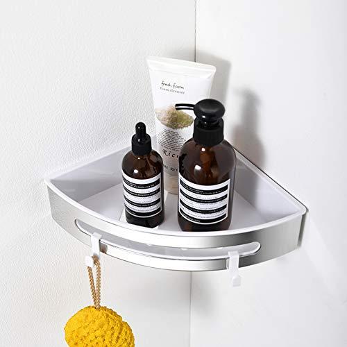Aica Sanitär Duschregal aus Edelstahl + Kunsstoff, Duschablage ohne Bohren, Duschkorb mit 2 Haken, multifunktionales Eckregal Dreieckig - Poliert