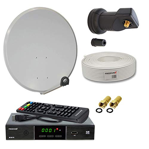 PremiumX Digitale HD Sat-Anlage 60cm Schüssel mit Single LNB 10m Antennenkabel F-Stecker FullHD TV Satelliten-Receiver HDMI-Kabel