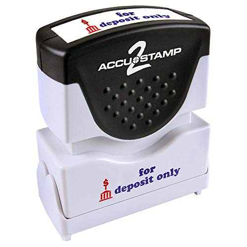 "ACCU-STAMP2 Message Stamp with Shutter, 2-Color, FOR DEPOSIT ONLY, 1-5/8"" x 1/2"" Impression, Pre-Ink, Blue and Red Ink (035523)"