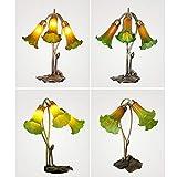 Sebasty Retro Soffiato di Vetro della Lampada di/Creative Living Studio Lily Decorativo Lampada da Comodino Camera da Letto (Color : Green)
