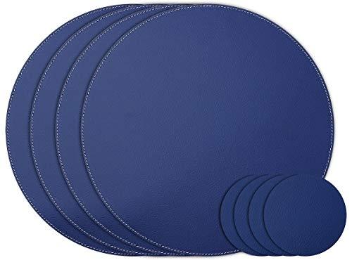 Nikalaz Lot de 4 Sets de Table et 4 Dessous-de-Verres, Ronds, 28 cm et 10 cm de diamètre respectivement, en Cuir Naturel Recyclé, Décor de Table (Bleu)