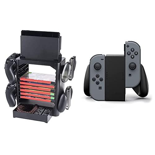 snakebyte GAMES:TOWER - für Nintendo Switch o. Nintendo Switch Lite / Halterung für 10 Spiele, 4 Pro Controller und Konsole & PowerA Nintendo Switch Joy-Con Comfort Grip (Schwarz)