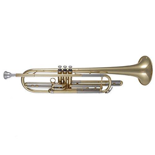 Tuyama® TTR-771 Basstrompete in B - Bass Trumpet - Messing, lackiert - Neusilber-Stimmzüge + Neusilber-Ventile - Koffer und Mundstück inklusiv