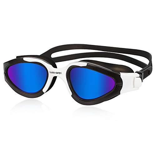Queshark Gafas de Natación Polarizadas Protección UV Impermeable Antivaho Correa Ajustable Cómodo para Hombres Mujeres Adultos Unisex QS02 (Azul Negro)