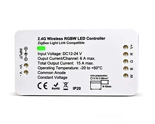 ZigBee Tira de LED Controlador de interruptor de luz, RGBW Control Remoto de ZigBee Light Link Adaptador para 12-24V LED Light Strip, Philips Hue Bridge, Amazon Echo Plus, Lightify