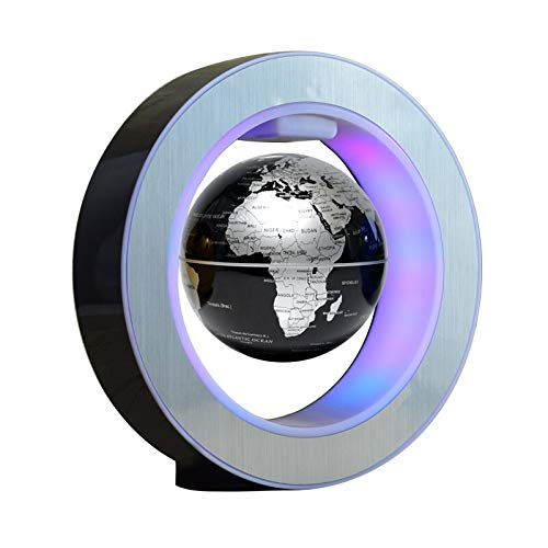 Luces suspendidas redondas LED mapa del mundo flotante globo magnético levitación luz anti gravedad magia suspendida luces del techo (negro)