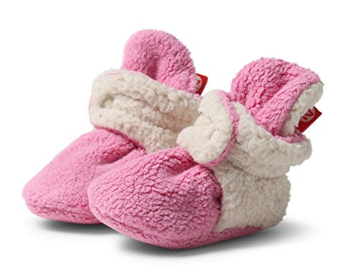 Zutano Cozie Fleece Baby Booties with Faux-Fur Lining, Unisex, for Newborns, Infants, and Toddlers, Hot Pink Furry, 3M