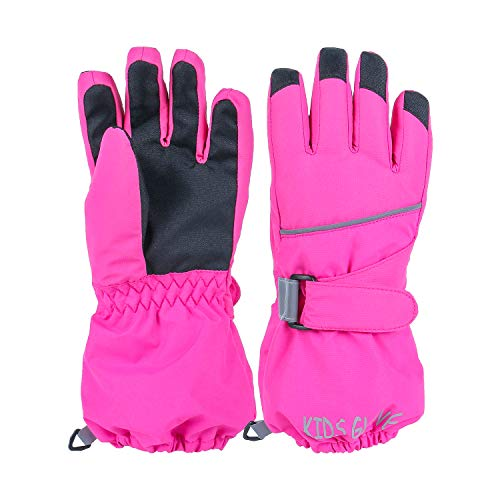 Linlook - Guanti da sci per bambini/uomo/donna, impermeabili e antivento, guanti invernali caldi, guanti da ciclismo, snowboard, guanti per sport all'aria aperta, colore rosa
