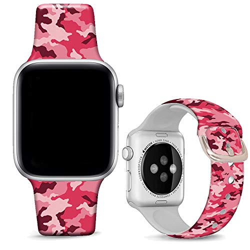 DOO UC Floral Bands Compatible with iWatch 38mm/42mm/40mm/44mm, Camouflage Pink Silicone Fadeless Pattern Printed Replacement Bands for iWatch Series 4/3/2/1, M/L for Women/Men