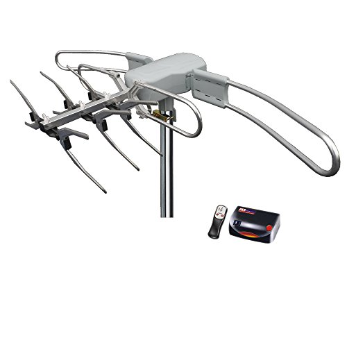 Tree New Bee Outdoor Remote Controlled HDTV UHF VHF Antenna FM Radio 360° Motorized Rotation Up to 150 miles & 40ft RG6 Cable