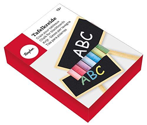 Rayher 8910649 Tafelkreide, Karton 12 Farben sortiert, 8 cm, 9,5 mm ø, leicht abwischbar, staubarm, bunt gemischt, leuchtende Farben, Kreide