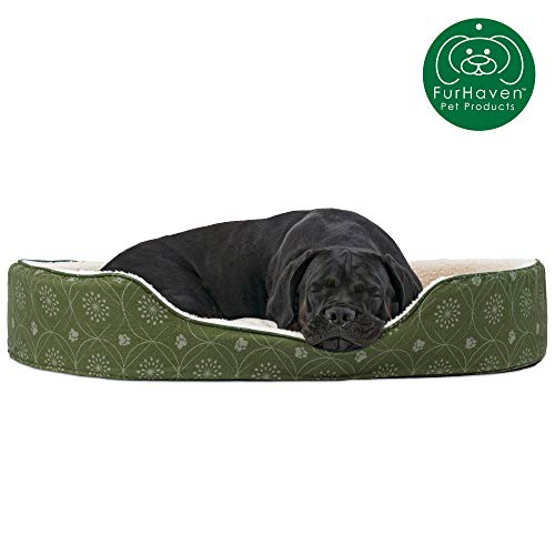 Furhaven Pet Dog Bed | Round Oval Cuddler Paw Print Décor Flannel Nest Lounger Pet Bed for Dogs &...