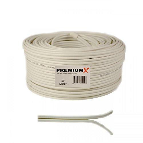 50 Meter Sat Koaxial Kabel 90dB Twin Mini 2X 4 mm Weiß Antennenkabel FullHD HDTV NEU