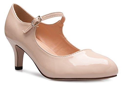 Olivia K Damenschuhe, klassische, niedrige mittlere Absätze Mary Jane Pumps - bezaubernde Runde Spitze Vintage Retro Schuhe, Beige (Hautfarben - Nude Patent), 40 EU