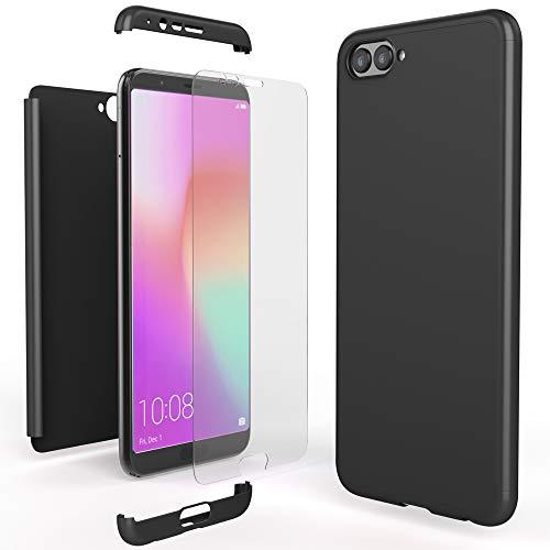 NALIA 360 Grad Handyhülle kompatibel mit Huawei Honor View 10, Full-Cover Schutzglas vorne hinten Hülle Doppel-Schutz, Dünn Hard-Hülle Etui Handy-Tasche, Bumper Bildschirmschutz, Farbe:Schwarz