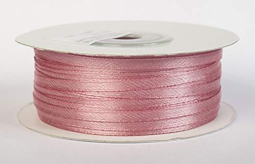 Jajasio Satinband 100 Yard-Rolle, 3mm breit, Auswahl aus 50 Farben/Farbe: 33 - Altrosa, Geschenkband, Schleifenband