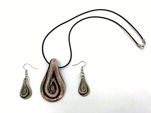 Ecloud Shop 1 Pendientes del Collar de Cristal de la lágrima Conjunto lampworkmurano Moda