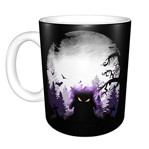 Digno de tus tazas de café y té de cerámica favoritas Poke Gengar Poisoned Night Impresión blanca de fotograma completo de 11 onzas adecuada para la oficina y las vacaciones familiares.