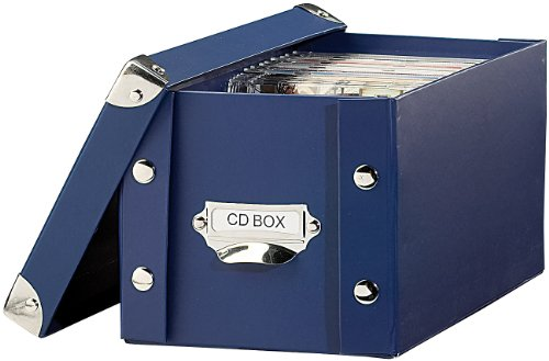 PEARL CD Archivbox: CD-Archiv-Box für 24 Standard- oder 48 Slim-CD-Hüllen, blau (DVD Sammelbox)