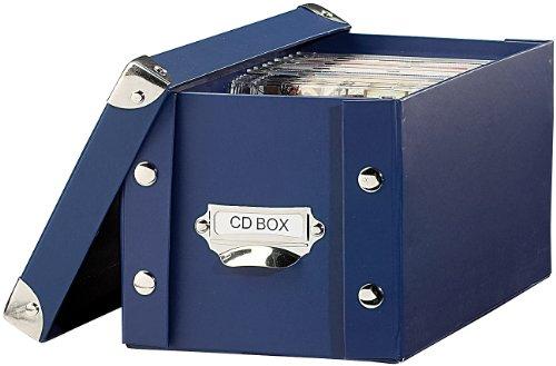 PEARL CD Archivbox: CD-Archiv-Box für 24 Standard- oder 48 Slim-CD-Hüllen, blau (DVD Box)