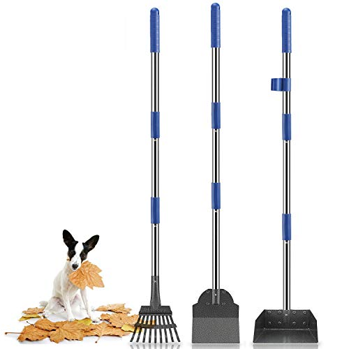 Niubya Poop Scooper for Dogs, Tray Rake and Spade Set with Long Adjustable Stainless Metal Handle for Pet Waste Removal, 3 Pack, Blue