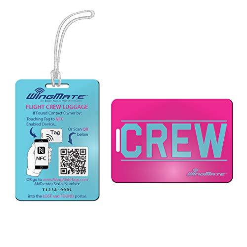 WingMate CREW Passive Tracking Smart Luggage Tag with web app! Crew Tag (Bubble Gum)