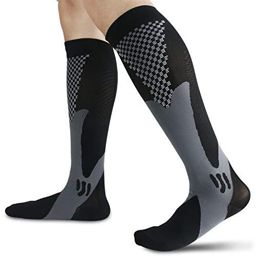 (2 pares) calcetines de compresión de cobre, calcetines de apoyo graduado, fascitis plantar, arco, tobillo, correr, deportes, viajes, circulación y recuperación para hombres y mujeres